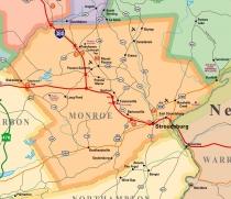 Map of Monroe County, PA