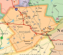 Map of Monroe County, PA