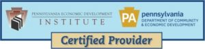 Pennsylvania Economic Development Institute and Penn Department of Community and Economic Development logo stating Certified Provider