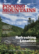 Cover the the Pocono Mountains magazine with mountains and river