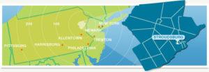 Map of PA coastline, including NJ