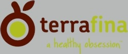 """terrafina logo in maroon and yellow """"a healthy obsession"""""""